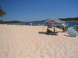 Sandy beach on Norfork Lake