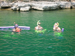 Snorkeling the clear water of Norfork Lake