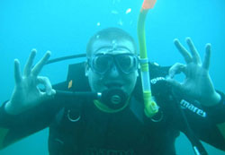 Scuba diver underwater Norfork Lake