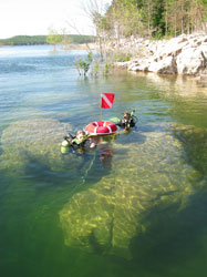 Scuba divers on surface of Norfork Lake